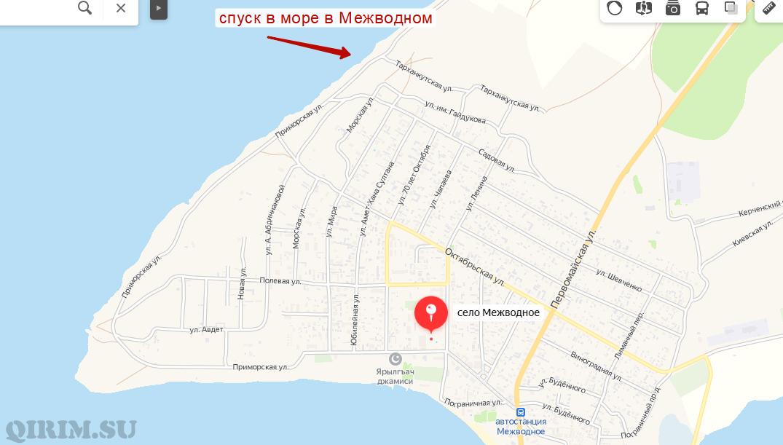 Карта спуска в море со стороны скал