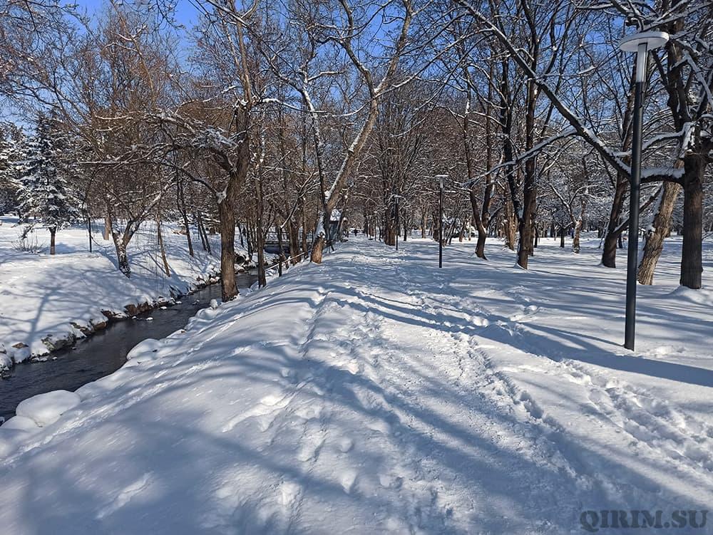 Гагаринский парк и малый Салгир зимой
