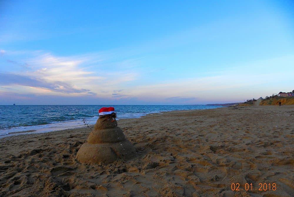 Крымский пляж зимой