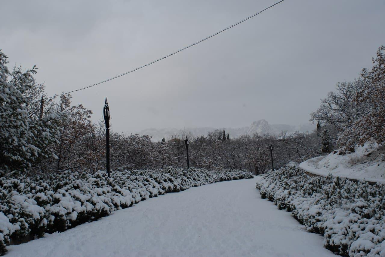 Кацивели зимой в снегу