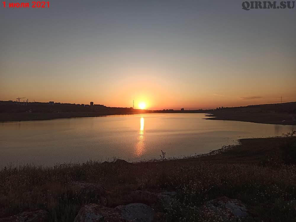 Симферопольское водохранилище на закате 1 июля