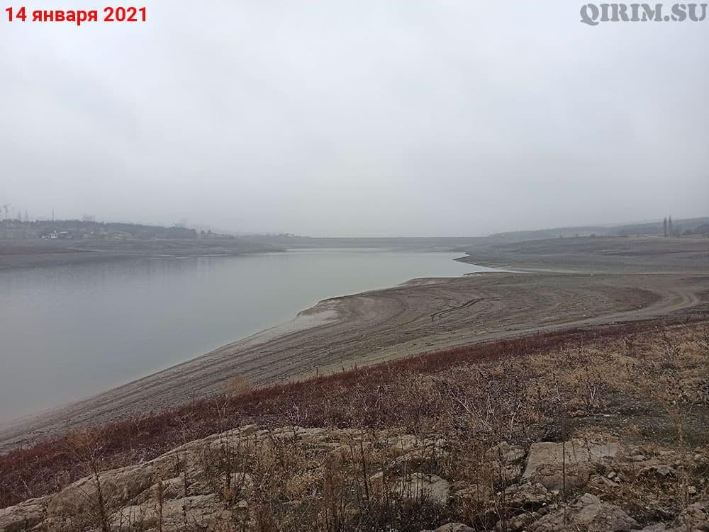 Симферопольское водохранилище вид на дамбу с острова 14 января