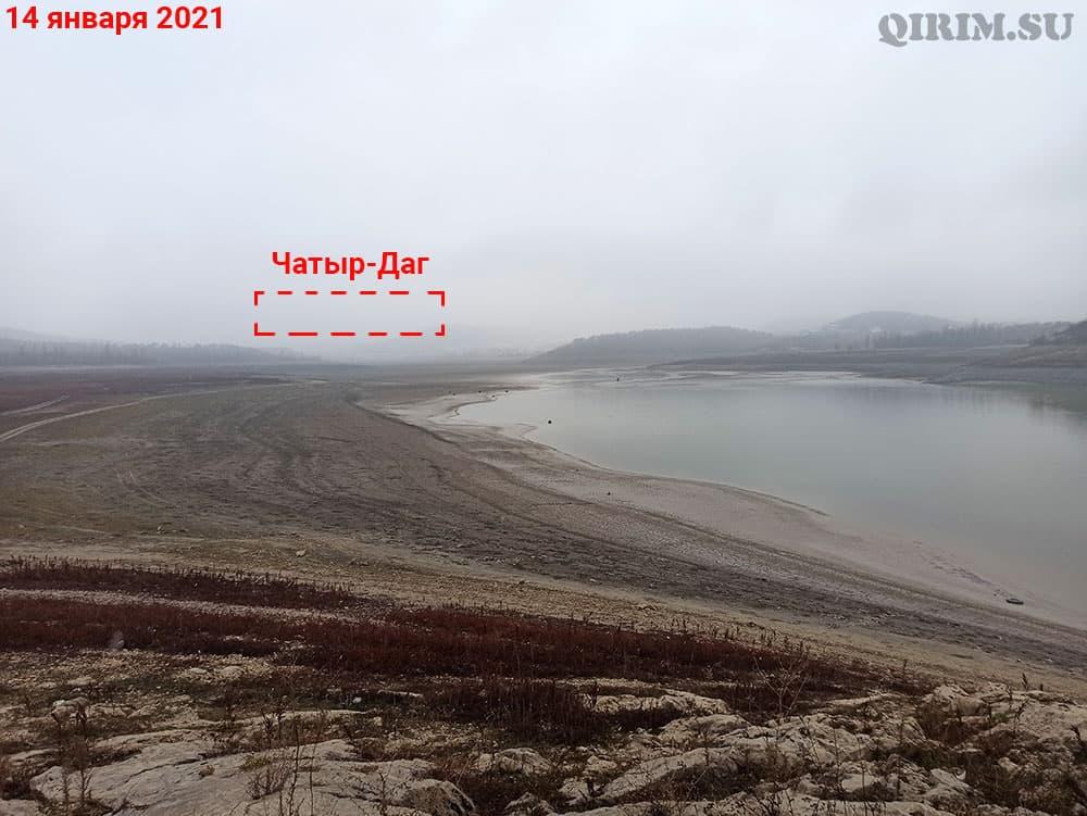Симферопольское водохранилище вид на Чатыр-Даг с острова 14 января