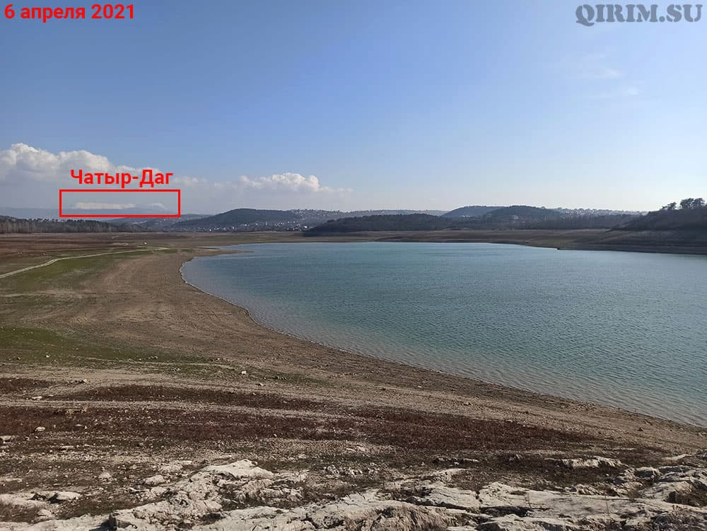Симферопольское водохранилище вид на Чатыр-Даг с острова 6 апреля
