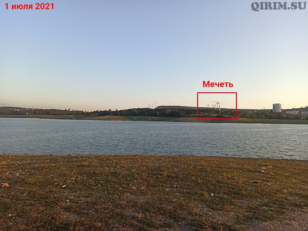 Симферопольское водохранилище вид на мечеть 1 июля 2021