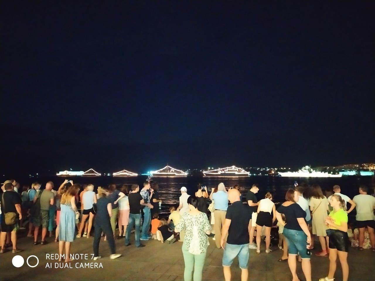 День ВМФ парад военных кораблей ночью